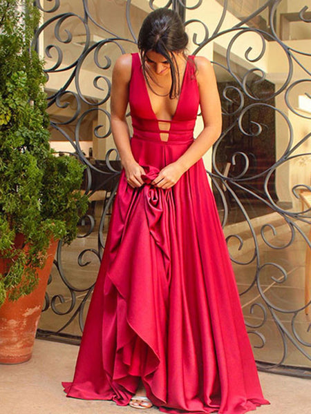 A-Line/Princess V-Neck Sleeveless Sweep Train Elastic Woven Satin Prom Evening Dress with Ruffles