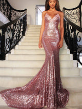Mermaid/Trumpet V-Neck Sleeveless Sweep/Brush Train Sequins Prom Formal Dress with Ruffles