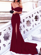 Mermaid/Trumpet Off-the-Shoulder Sleeveless Sweep/Brush Train Satin Prom Evening Dress
