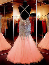 Mermaid/Trumpet V-Neck Sleeveless Floor Length Prom Evening Dress with Sequins