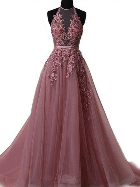 A-Line/Princess Halter Sleeveless Sweep/Brush Train Tulle Prom Formal Dress with Applique