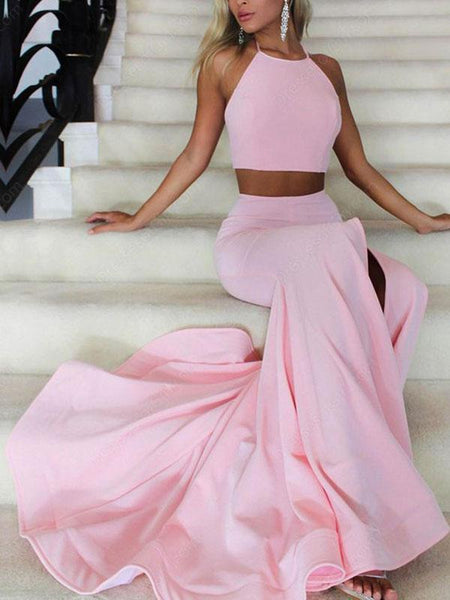 A-Line/Princess Halter Sleeveless Sweep/Brush Train Satin Two Piece Prom Dress with Ruffles