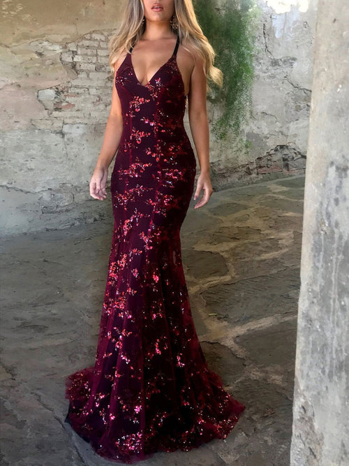 8059978d8f74 ... Trumpet/Mermaid V-neck Sleeveless Floor-Length Tulle Prom Formal Dress  with Sequins ...