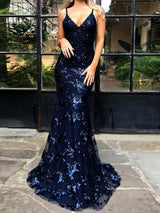Trumpet/Mermaid V-neck Sleeveless Floor-Length Tulle Prom Formal Dress with Sequins
