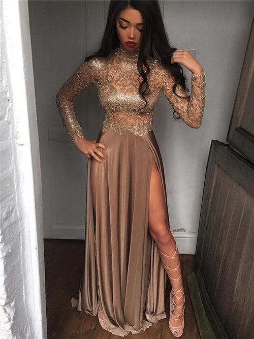 A-Line/Princess High Neck Long Sleeves Court Train Sequins Prom Formal Dress with Sequins