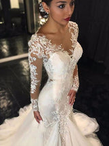 Trumpet/Mermaid V-neck Long Sleeves Tulle Court Train Wedding Dress with Lace
