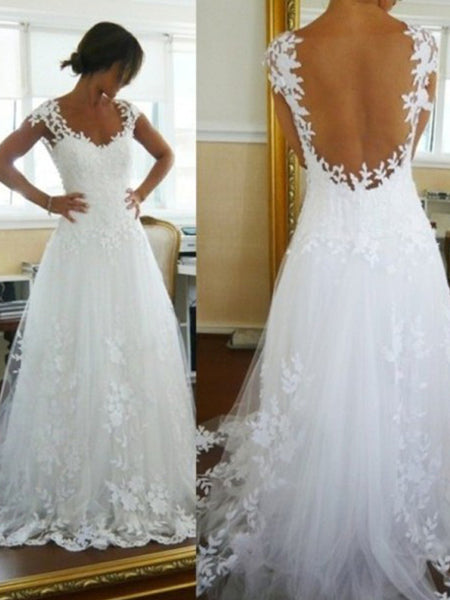 A-Line/Princess V-neck Sleeveless Tulle Sweep/Brush Train Bridal Dress with Lace