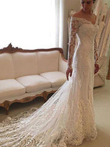 Sheath/Column Off-the-Shoulder Court Train Long Sleeves Wedding Dress