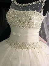 Ball Gown Scoop Floor-Length Sleeveless Tulle Wedding Dress with Beading