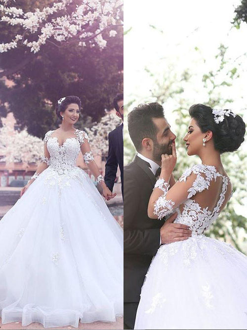 Ball Gown Sweetheart Court Train Long Sleeves Tulle Wedding Dress