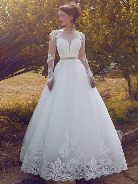 Ball Gown Bateau Floor-Length Long Sleeves Tulle Wedding Dress
