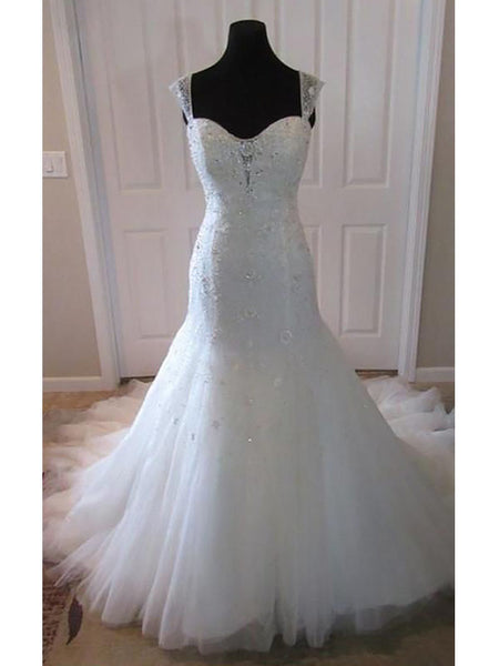 Trumpet/Mermaid Straps Court Train Sleeveless Tulle Bridal Gown