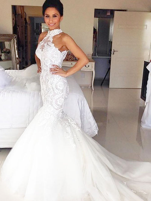 Trumpet/Mermaid Halter Court Train Sleeveless Tulle Bride Dress