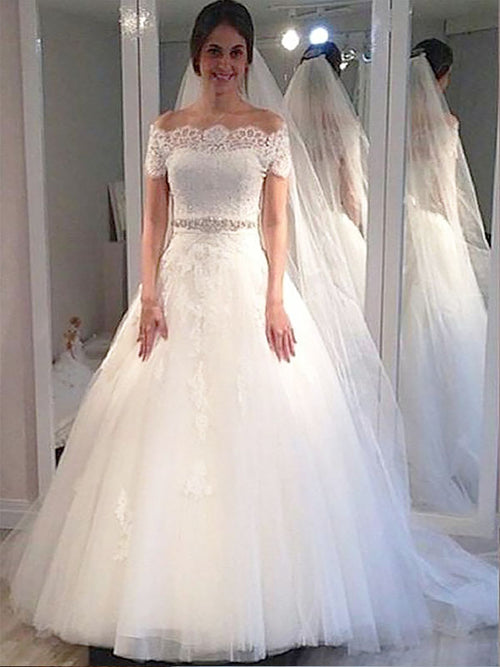Ball Gown Off-the-Shoulder Sweep/Brush Train Short Sleeves Tulle Wedding Dress