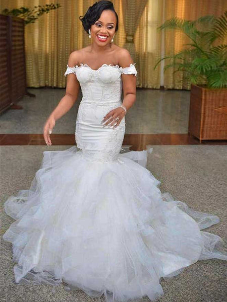 Trumpet/Mermaid Off-the-Shoulder Sweep/Brush Train Sleeveless Organza Wedding Dress