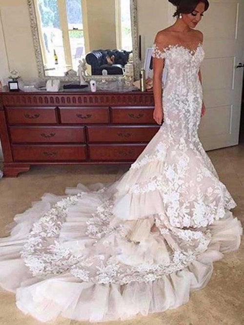 Trumpet/Mermaid Off-the-Shoulder Chapel Train Short Sleeves Tulle Bridal Dress