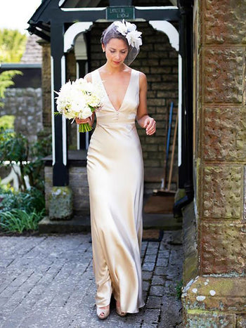 Sheath/Column V-neck Sweep/Brush Train Sleeveless Satin Bridal Gown
