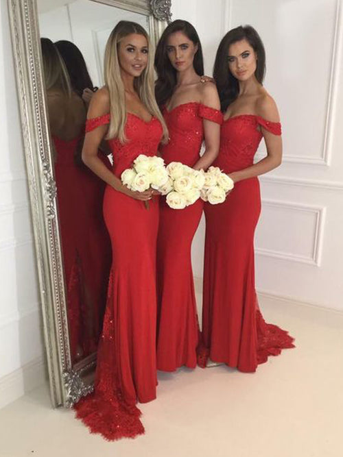 Trumpet/Mermaid Off-the-Shoulder Jersey Floor Length Sleeveless Prom Bridesmaid Dress