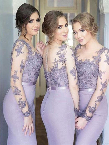 Trumpet/Mermaid Scoop Jersey Floor Length Long Sleeves Bridesmaid Dress