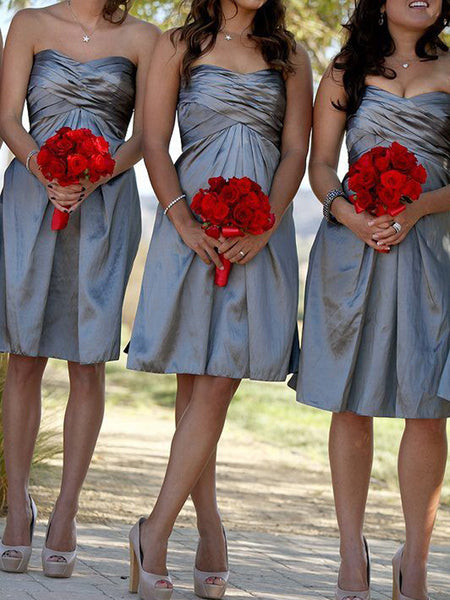 Sheath/Column Sweetheart Satin Short/Mini Sleeveless Bridesmaid Dress