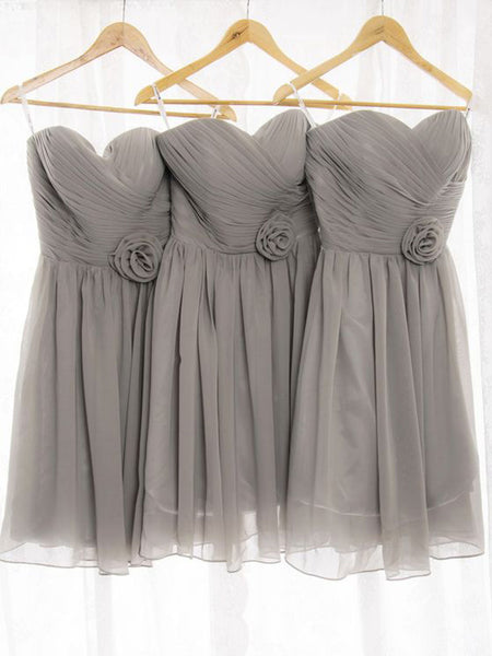 A-Line/Princess Sweetheart Chiffon Short/Mini Sleeveless Bridesmaid Dress