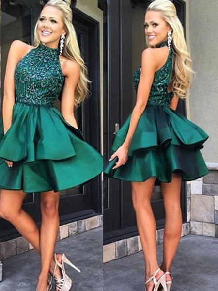 A-Line/Princess High Neck Satin Sleeveless Short/Mini Backless Dress with Beading