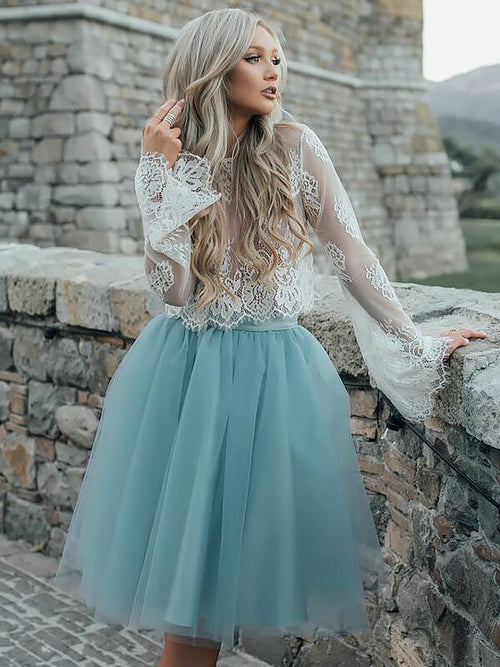 A-Line/Princess Scoop Lace Long Sleeves Knee Length Dress with Lace Tutu