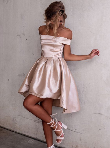 A-Line/Princess Off-the-Shoulder Satin Short Sleeves Asymmetrical Dress with Pleats