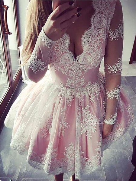 Ball Gown V-neck Lace Long Sleeves Short/Mini Homecoming Dress with Lace