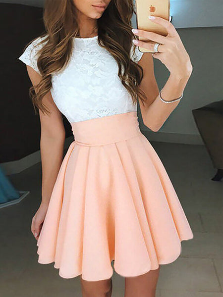 A-Line/Princess Jewel Chiffon Sleeveless Short/Mini Prom Dress with Lace