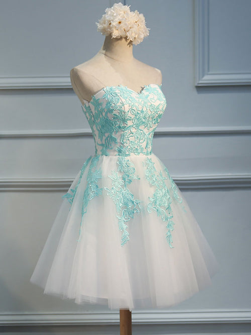 d8297aae6954d5 ... A-Line/Princess Sweetheart Tulle Sleeveless Short/Mini Dress with  Applique Lace ...