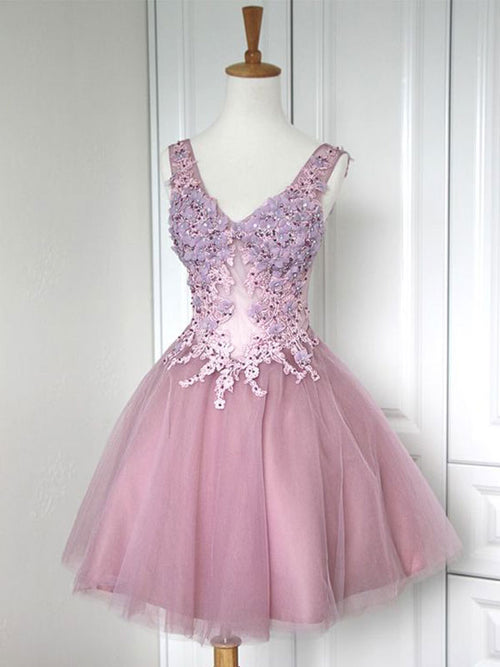A-Line/Princess V-neck Tulle Sleeveless Short/Mini Dress with Applique Lace