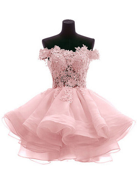 A-Line/Princess Off-the-Shoulder Organza Sleeveless Short/Mini Dress with Applique