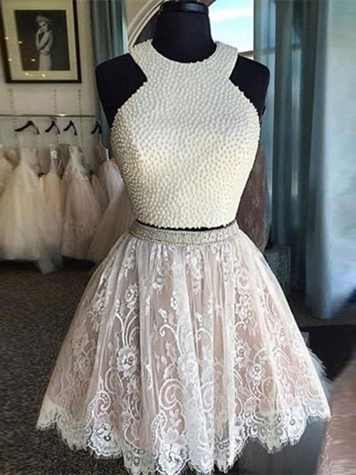 A-Line/Princess Jewel Lace Sleeveless Short/Mini Prom Dress with Pearls