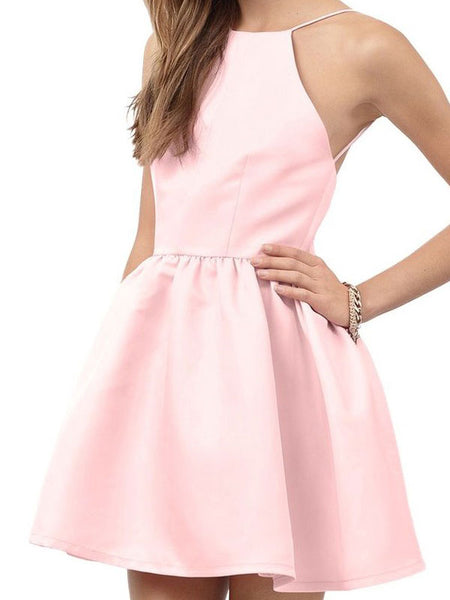 A-Line/Princess Halter Satin Sleeveless Short/Mini Backless Dress with Beading Lace