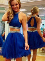 A-Line/Princess Jewel Tulle Sleeveless Short/Mini Prom Dress with Beading