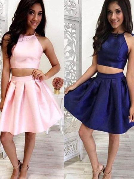 A-Line/Princess Jewel Satin Sleeveless Short/Mini Prom Homecoming Dress