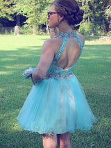 A-Line/Princess Halter Tulle Sleeveless Short/Mini Prom Dress with Beading