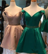 A-Line/Princess Off-the-Shoulder Satin Sleeveless Short/Mini Dress with Beading