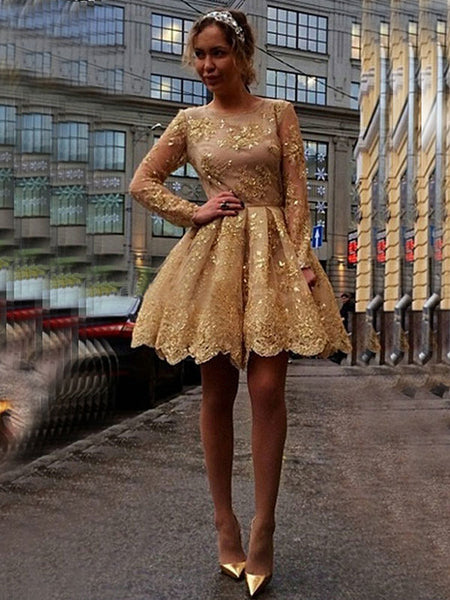 Ball Gown Jewel Long Sleeves Short/Mini Prom Homecoming Dress with Applique