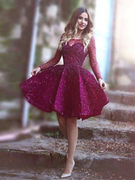 A-Line/Princess Scoop Satin Long Sleeves Short/Mini Prom Dress with Paillette