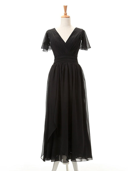 Sheath/Column V-Neck Short Sleeves Chiffon Floor Length Mother of the Bride Dress with Ruched