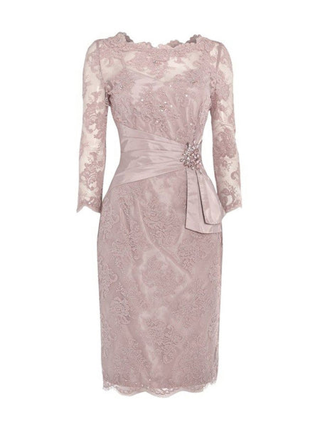 Sheath/Column Jewel 3/4 Sleeves Lace Knee Length Mother of the Bride/Groom Dress with Beading