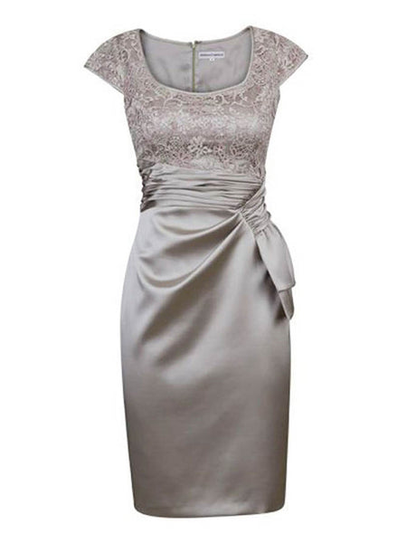 Sheath/Column Square Cap Sleeves Satin Short/Mini Mother of the Bride Dress with Lace Ruched