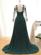 A-Line/Princess Jewel Long Sleeves Chiffon Sweep Train Mother of the Bride Dress with Applique