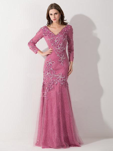 Mermaid/Trumpet V-Neck 3/4 Sleeves Tulle Floor Length Mother of the Bride Dress with Applique Beading