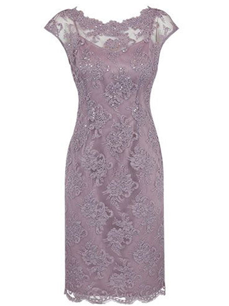Sheath/Column Bateau Cap Sleeves Lace Knee Length Mother of the Bride/Groom Dress with Beading