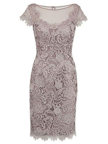 Sheath/Column Bateau Cap Sleeves Lace Knee Length Mother of the Bride/Groom Dress with Lace