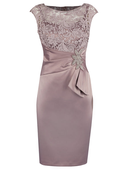 Sheath/Column Bateau Cap Sleeves Satin Knee Length Mother of the Bride Dress with Beading Lace