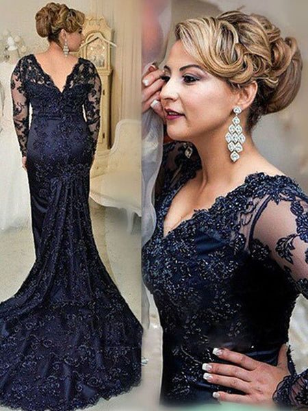 e0d374f41b Sheath/Column V-Neck Long Sleeves Lace Sweep Train Mother of the Bride/